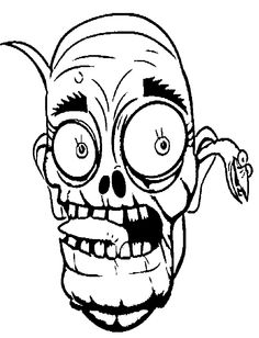 Face Zombie Coloring For Kids - Halloween cartoon coloring pages