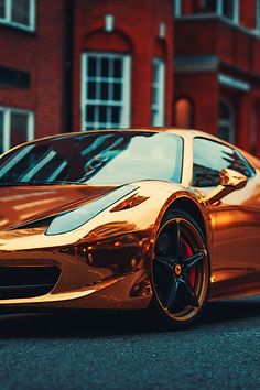 "thelavishsociety: Ferrari Gold by Edgar Katkov | LVSH- - -I'm not a sportscar-fan. The ride is too rough for me, but the two I've just found would look damn good in the driveway I WOULD have if I was living ""the luxury-life !"