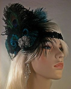 Peacock and Ostrich Feather Flapper Headband! Perfect for a Roaring Twenties Party or just to pair with that cute little dress you're about to rock this weekend ;)