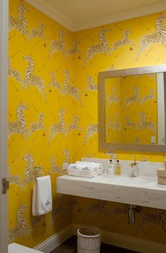 Scalamandre Zebra wallpaper in yellow.  The red is also beautiful.