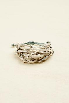 Silver Natural Beaded Multi Layer Bracelet - Earthbound Trading Co. - Earthbound Trading Co.