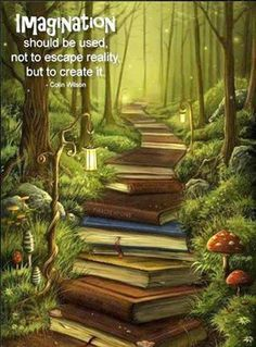 Love this picture! And I love books. With books I have traveled the world - I've spent time in Antarctica - I've climbed mountains and dived the oceans. I can't imagine a world without the wonder of books! Fantasy Kunst, Fantasy World, Fantasy Books, Fantasy Forest, Fantasy Places, Fantasy Fiction, Fantasy Artwork, Book Nerd, Book Worms