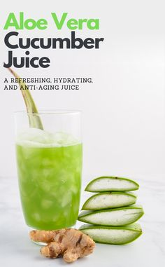 How to make a refreshing Aloe Vera Juice recipe with hydrating cucumber, lemon, . - How to make a refreshing Aloe Vera Juice recipe with hydrating cucumber, lemon, and ginger. Aloe Vera Juice Recipes, Healthy Juice Recipes, Healthy Detox, Healthy Juices, Detox Juices, Detox Recipes, Aloe Vera Juice Drink, Aloe Drink, Healthy Recipes