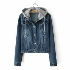 Kapşonlu Koyu Mavi Bayan Kot Ceket | Daha fazlası için resme tıklayınız..