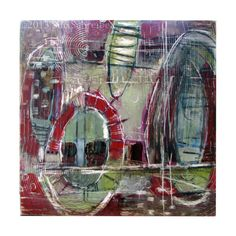 """Contemporary abstract oil painting on Claybord 6 x 6"""" distressed surface textured Sue Schreibe"""