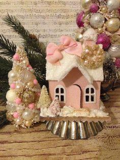 Cardboard Christmas House~ Vintage Inspired Putz House, Glitter House, Christmas…