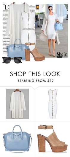 """""""Blue bag"""" by a-z07 ❤ liked on Polyvore featuring Balmain, Kerr®, Givenchy, Rebecca Minkoff and H&M"""
