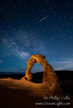 Milky Way and Shooting Star over Delicate Arch, as stars cover the night sky, Arches National Park, Utah Places To Travel, Places To See, Milky Way Photography, Orion's Belt, Delicate Arch, Star Trails, Star Sky, Stargazing, Natural History