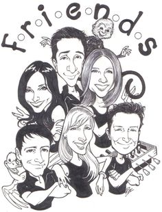 The cast of Friends as cartoons.