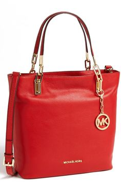 Michael By Michael Kors Brooke Medium Leather Tote in Red - Lyst