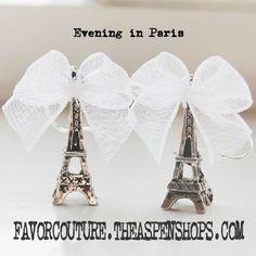 Destination Paris or at Least Paris Theme Wedding Favors: Favor Couture http://favorcouture.theaspenshops.com/product/evening-in-paris-eiffel-tower-silverfinish.html