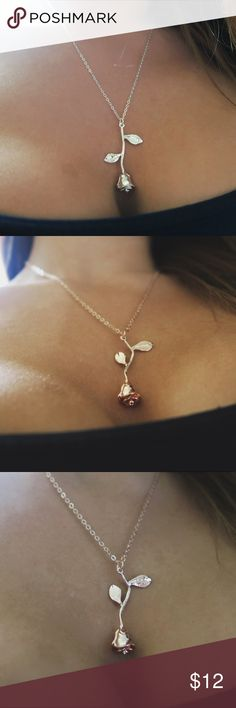 Rose Necklace Available in Gold, Silver & Rose Gold. Jewelry Necklaces