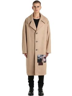 MISBHV - SEAN SCHERMERHORN WOOL BLEND COAT - COATS - BEIGE - LVR.COM - Created in collaboration with Sean Schermerhorn. Notched lapels. Front button closure . Printed patch on front . Two side pockets. Slightly oversized fit . Sample size: M