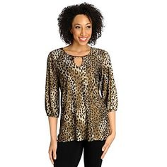 Love, Carson by Carson Kressley Stretch Knit 3/4 Sleeved Keyhole Neck Top