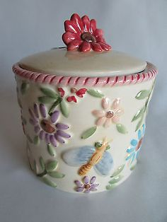 Canister flowers paco bees tea #coffee trinket #ceramic #signed jar lid,  View more on the LINK: 	http://www.zeppy.io/product/gb/2/121869061413/