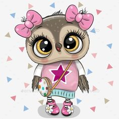 Cute Owl with a bows on a white background. Cute Cartoon Owl Girl with bows on a white background royalty free illustration Cute Owl Cartoon, Girl Cartoon, Owl Clip Art, Owl Art, Cartoon Mignon, Bon Point, Owl Vector, Owl Pictures, New Wallpaper
