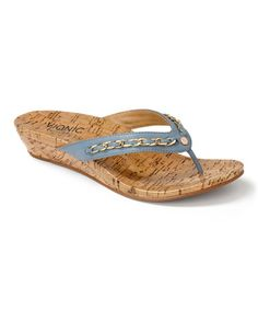 The most comfortable sandals ever! Light Blue Aruba Leather Sandal by Vionic with Orthaheel Technology #zulily #zulilyfinds