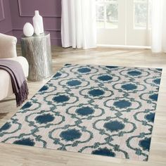 Modern Moraccan Trellis Cream/Blue Soft Area Rug (5'3 x 7'3) | Overstock.com…