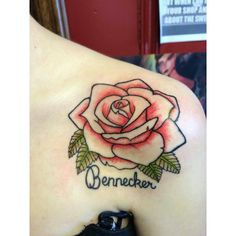 Gorgeous rose tattoo with mothers maiden name.