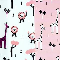 African animals. In fresh pink, mustard and mint!  #spoonflower #fabric #textile #textiledesign #fabricdesign #africa #lion #tiger #giraffe #paper #design #illustration #cotton #gots #littlesmilemakers