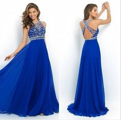 Sexy Formal Long Chiffon Dress Prom Evening Party Cocktail Bridesmaid Dress  Long Blue Prom Dresses e404624c5aaa