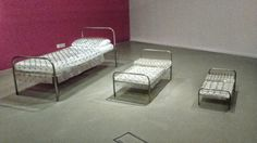 Bed of nails for 3 different sizes. Exhibition at the National Glass Centre, Sunderland