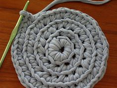 DIY for making t-shirt-yarn to use in a rug.