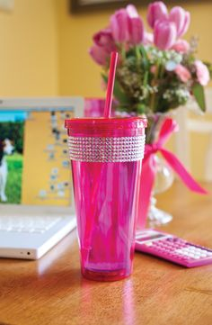 spirit ice - fuchsia  20 oz acrylic double wall tumbler with threaded lid and matching straw and rhinestones
