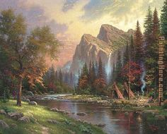 Thomas Kinkade Mountains Declare his Glory painting for sale, this painting is available as handmade reproduction. Shop for Thomas Kinkade Mountains Declare his Glory painting and frame at a discount of off. Famous Landscape Paintings, Landscape Art, Kinkade Paintings, Art Paintings, Thomas Kinkade Art, Thomas Kincaid, Art Thomas, Thomas Moran, Sacramento