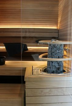 Great sauna with a really nice, detail-loving oven Sauna Steam Room, Sauna Room, Steam Bath, Modern Saunas, Building A Sauna, Sauna Shower, Linear Lighting, Lighting Design, Portable Sauna