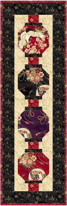"""Lanterns - Quilt size: 55"""" x 70""""<br> Table Runner size: 18"""" x 57""""<br> Block size: 8""""x 9"""""""