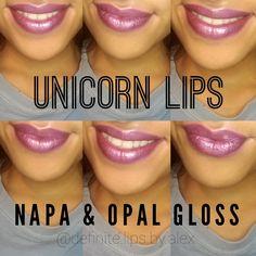 Unicorn lips with LipSense. Napa and Opal gloss!!