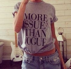 More issues than vogue grey tshirt for women by Stupidfashion, $20.00