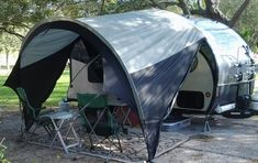 Installs to trailer using keder (awning) rail that is already installed on trailer. Sets up easily in minutes. Made of heavy-duty polyester with waterproof Rv Camping, Camping Lights, Camping World, Family Camping, Camping Hacks, Outdoor Camping, Camping Trailers, Luxury Camping, Minivan Camping