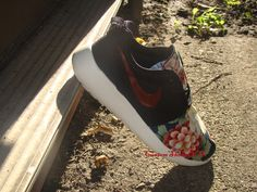 Custom Nike Roshe Run Asian Red Floral Print - Red Swoosh/ Tick