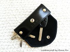 100% hand stitched handmade and hand dyed black vegetable tanned leather key holder/ purse/ case