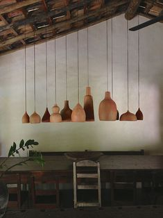 Love how it looks like someone has cut the bottom off a bunch of different sized lamps! trancoso-2_steven-alan-journal.jpg 500×667 pixels