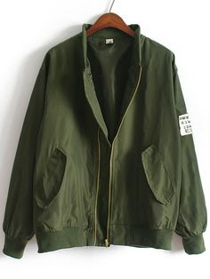 Army Green Stand Collar Pockets Loose Jacket — 20.83 € ----------color: Green size: one-size