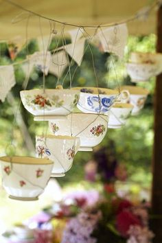 Hanging teacup lanterns for a different take on the classic jam jar lantern