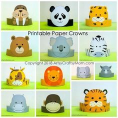 Printable Zoo Themed Paper Crowns - 13 Animal crowns in full color plus a balck and white color your own template Crown Printable, Printable Paper, Crown For Kids, Printable Animals, Paper Crowns, Animal Crafts For Kids, Diy Fan, Paper Animals, Animal Hats