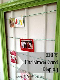 DIY Christmas card display!  So simple!