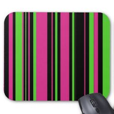 Stripes in Pink, Mint Green & Black Mouse Pads