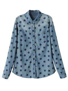 Blue Denim Shirt With Star Print