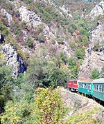 Train passing through the Velingrad Gorge