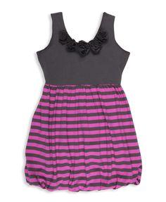 Rosette Striped Combo Dress | FOREVER21 girls - 2015035728