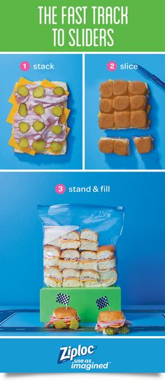Keep a crowd of hungry engines stoked on race day! Fill a Ziploc® slider bag in a snap with this clever idea. Make 12 sandwiches at once: Slice the top off of pre-made bread rolls. Layer meat, cheese, lettuce and other ingredients to make one giant sandwich. Cover with bread tops. Slice between the rolls to individually portion. Take them to go! Use this tip when making any slider recipe: philly cheesesteak, ham and cheese or buffalo chicken. Perfect for tailgates, viewing parties and more!
