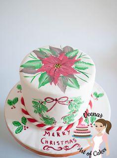 Hand Painted Poinsettia Cake