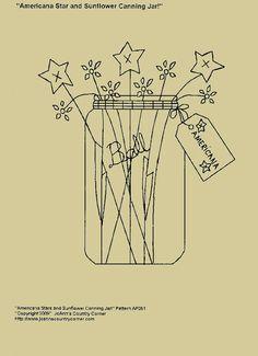 "Primitive Stitchery E-Pattern, ""Americana Star and Sunflower Canning Jar with Primitive Tag ""Americcana""."