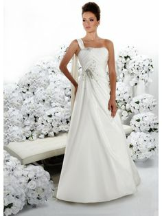 Silk Strapless Softly Curved Neckline Gathered Bodice A-line Wedding Dress