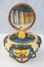 Rare Disney Beauty and The Beast Jewelry Trinket Music Box Princess Belle